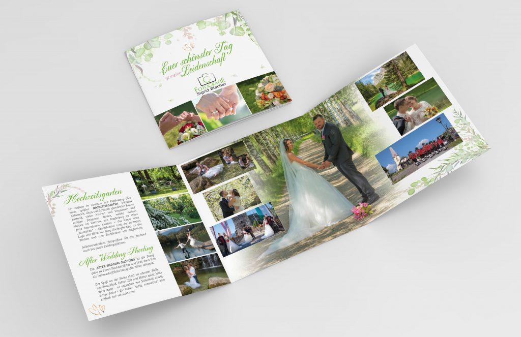 Hochzeit, Folder, Werbefolder, Wickelfalz, Werbung, Printmaterial